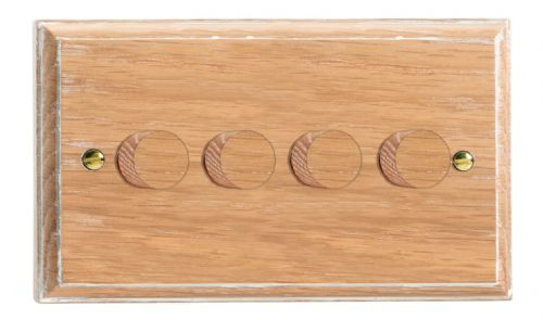 Varilight HK44LO Kilnwood Limed Oak 4 Gang 2-Way Push-On/Off Dimmer 40-250W V-Dim